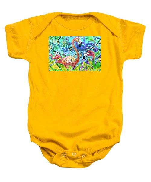 Outdoor Flamingo Party Baby Onesie