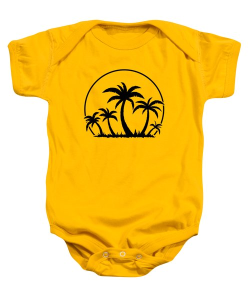 Palm Trees And Sunset In Black Baby Onesie