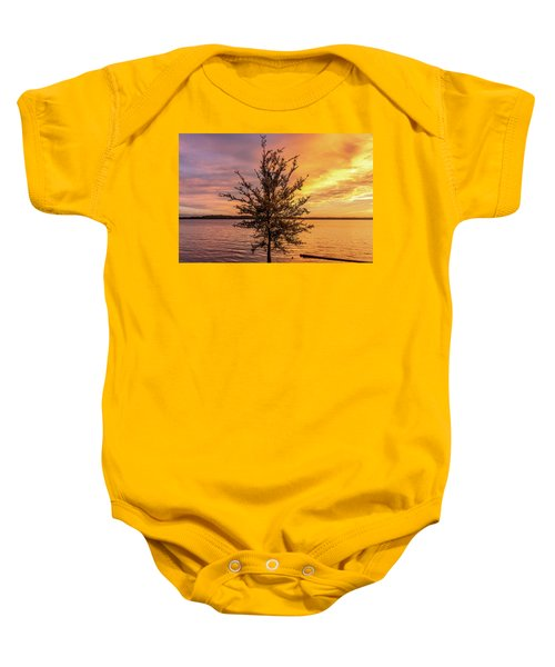 Percy Priest Lake Sunset Young Tree Baby Onesie