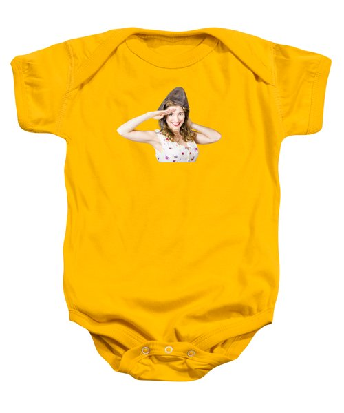 Pin Up Lady Saluting In Fighter Pilot Cap Baby Onesie