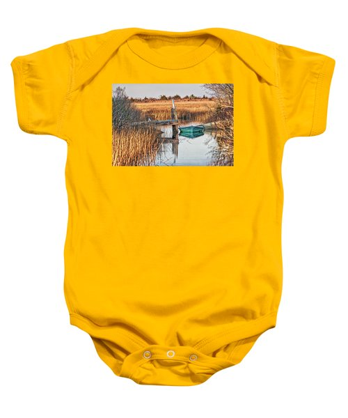 Poquoson Marsh Boat Baby Onesie