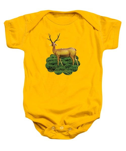 Pretty Deers Playing In The Forest. Baby Onesie