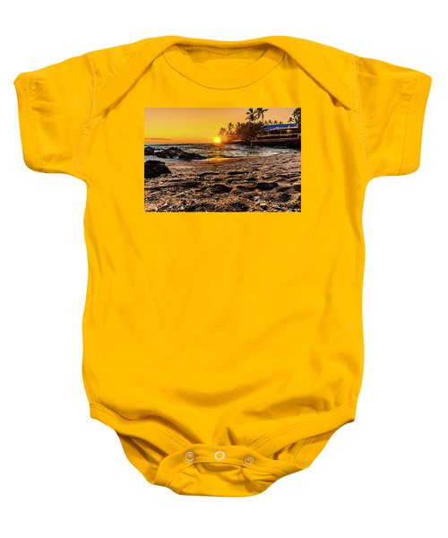 Baby Onesie featuring the photograph Private Beach At Sunset by John Bauer