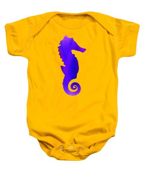 Purple Seahorse Fantasy  Baby Onesie