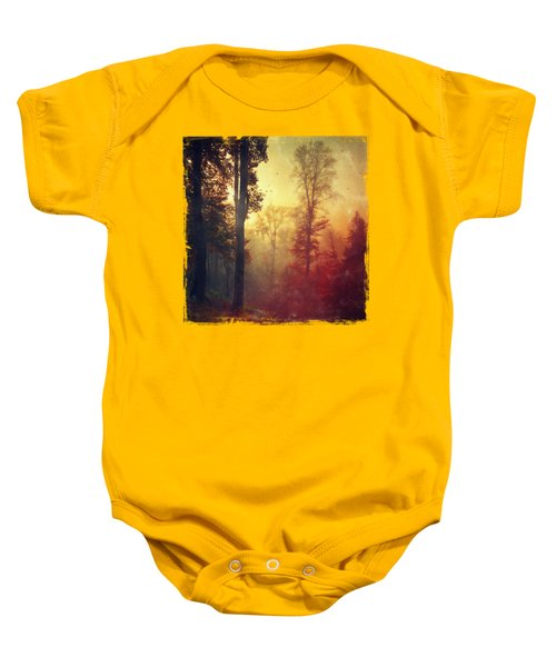 Quiet Morning - Misty Fall Forest Baby Onesie