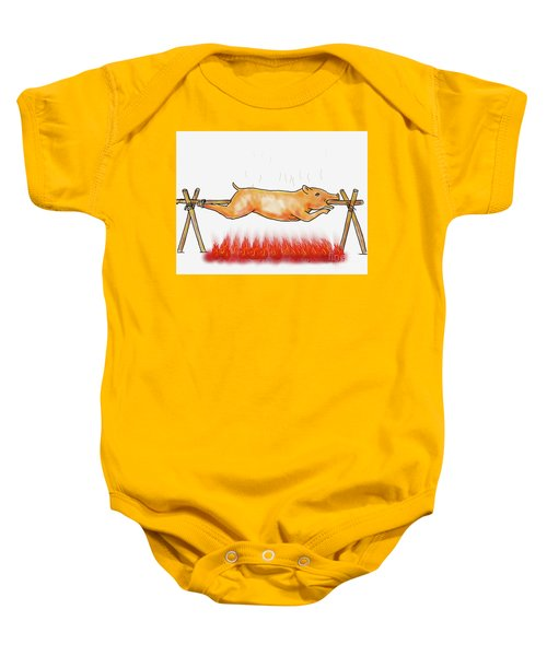 Roast Pig Lechon  Roasting Color Drawing  Baby Onesie