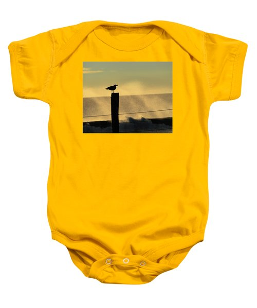 Seagull Silhouette On A Piling Baby Onesie