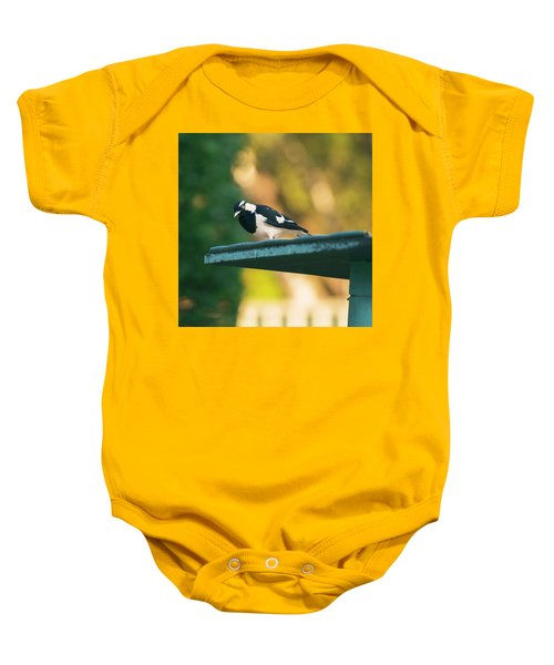 Small Magpie Lark Outside In The Afternoon Baby Onesie