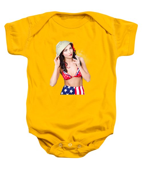 Smoking Hot American Military Pin-up Girl Baby Onesie