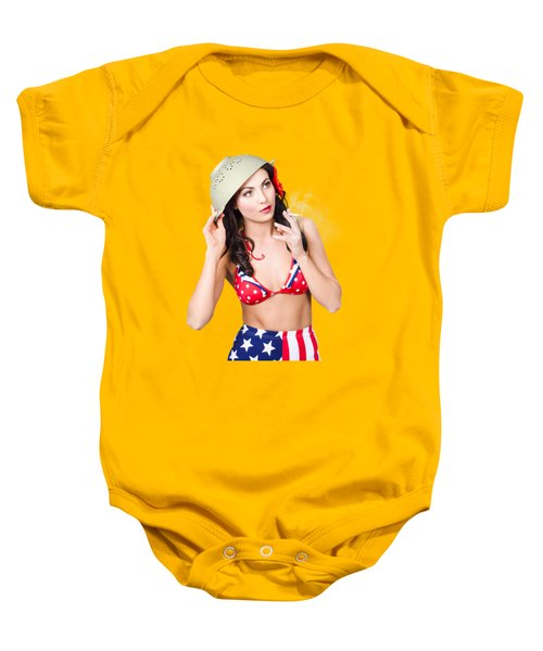 Smoking Hot American Military Pin-up Girl Baby Onesie