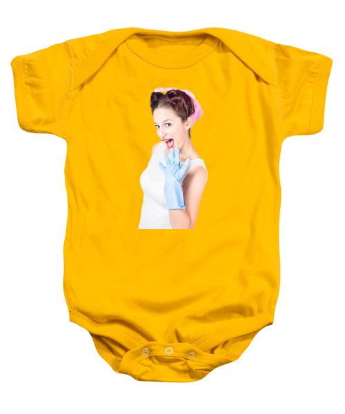 Stunned Cleaning House Wife Wearing Rubber Glove Baby Onesie