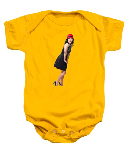 Baby Onesie featuring the photograph Stylish 1960s Fashion Pinup Woman by Jorgo Photography - Wall Art Gallery