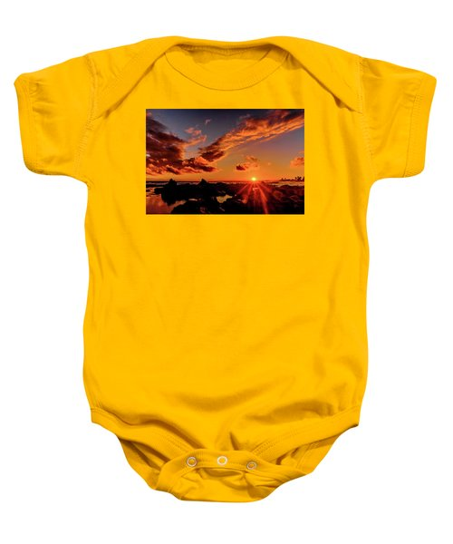 Baby Onesie featuring the photograph Sun On The Rocks by John Bauer