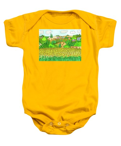 Sunflower French Countryside Baby Onesie