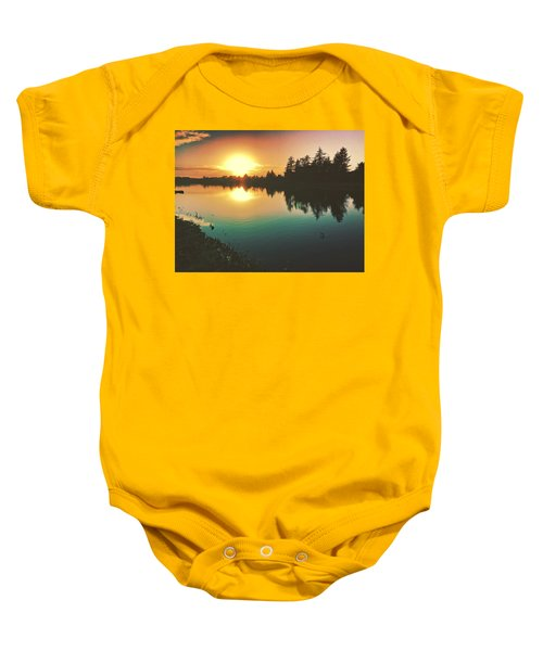 Sunset River Reflections  Baby Onesie
