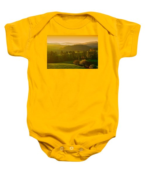 Smokey Mountain Sunrise Baby Onesie