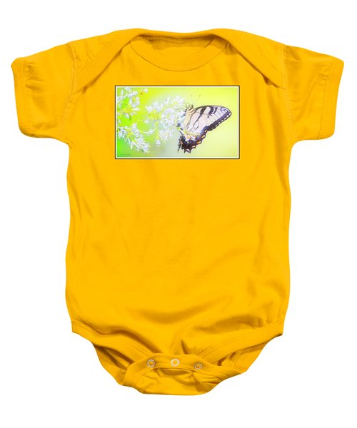 Tiger Swallowtail Butterfly On Privet Flowers Baby Onesie