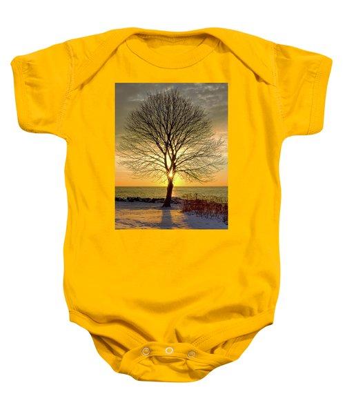 Tree Framed Sunrise New Hampshire Baby Onesie
