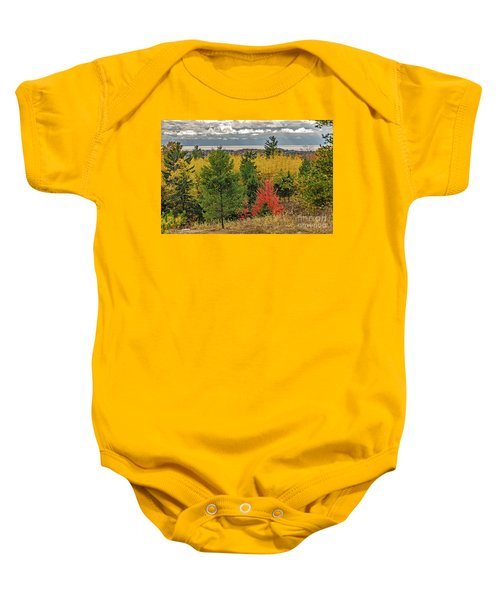 Vibrant Shades Of Red, Green, And Yellow Leaves Baby Onesie
