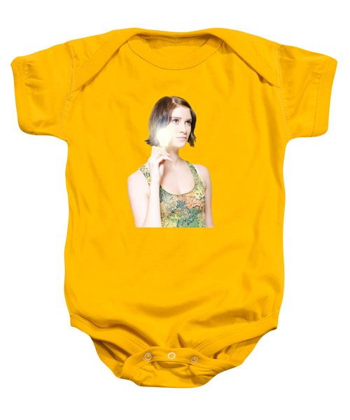 Woman With Bright Idea Baby Onesie