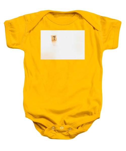Wooden Dice With Question Mark And Doubt. Baby Onesie