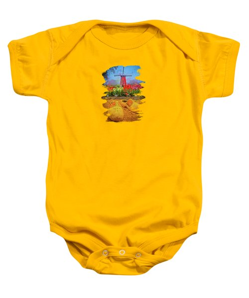 Yellow Wooden Shoes Baby Onesie