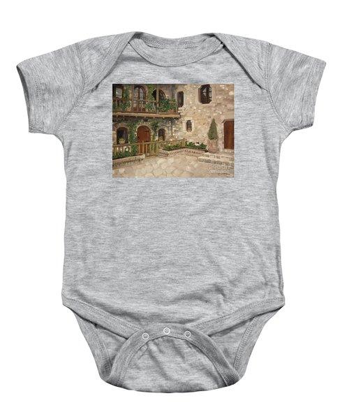Greek Courtyard - Agiou Stefanou Monastery -balcony Baby Onesie