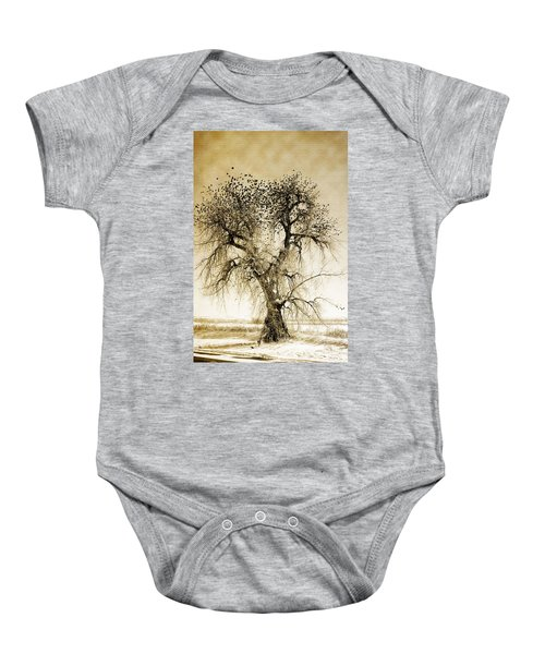 Bird Tree Fine Art  Mono Tone And Textured Baby Onesie