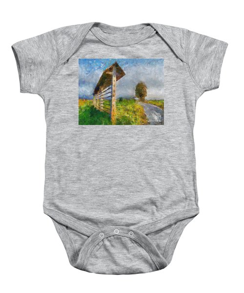 Country Road With Hayrack Baby Onesie