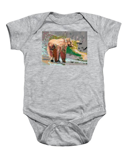 081914 Pastel Painting Grizzly Bear Baby Onesie
