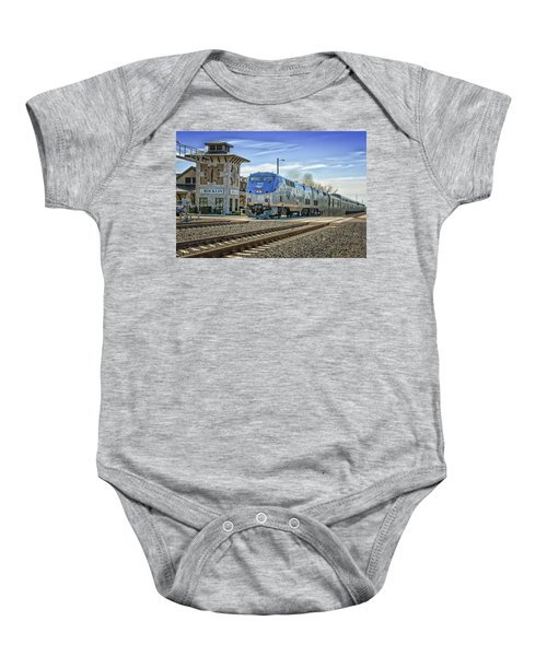 Baby Onesie featuring the photograph Amtrak 112 by Jim Thompson