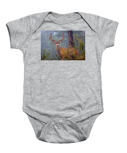 Buck Deer In A Mystical Foggy Forest Scene Baby Onesie