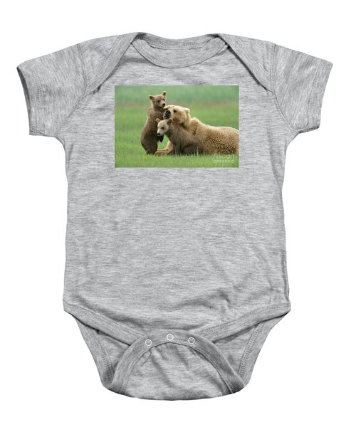 Grizzly Cubs Play With Mom Baby Onesie