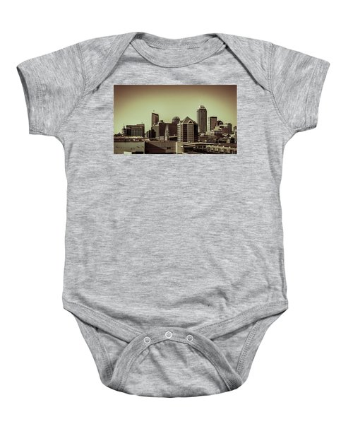 Indianapolis Skyline - Black And White Baby Onesie