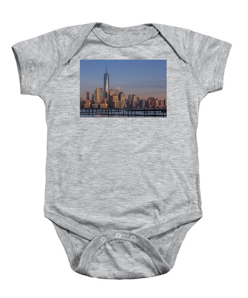 Lower Manhattan Skyline Baby Onesie