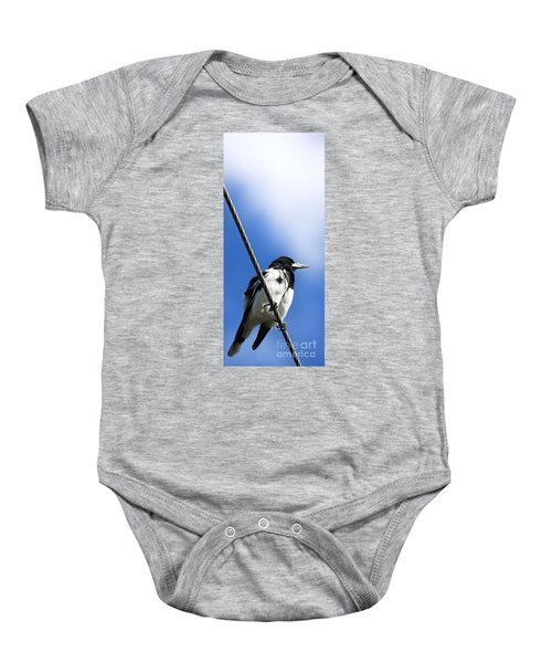 Magpie Up High Baby Onesie by Jorgo Photography - Wall Art Gallery
