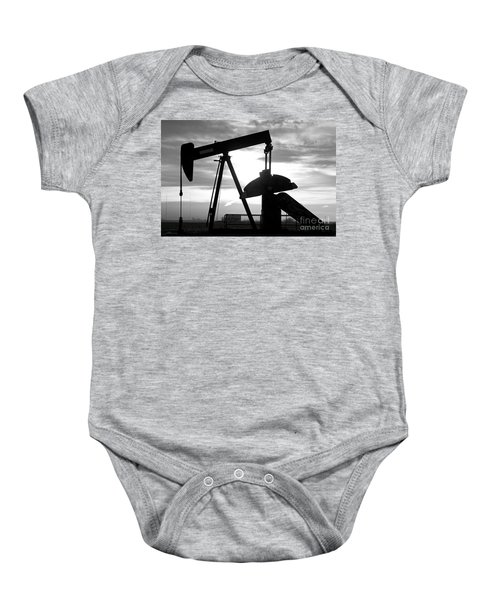 Oil Well Pump Jack Black And White Baby Onesie