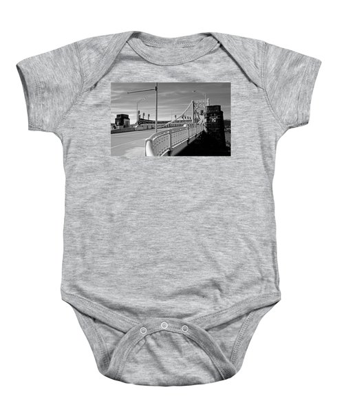 Baby Onesie featuring the photograph Pittsburgh - Roberto Clemente Bridge by Frank Romeo