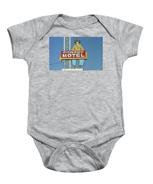 Baby Onesie featuring the photograph Route 66 - Cowboy Motel by Frank Romeo