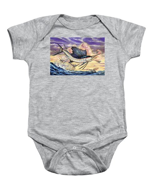 Sailfish And Flying Fish In The Sunset Baby Onesie