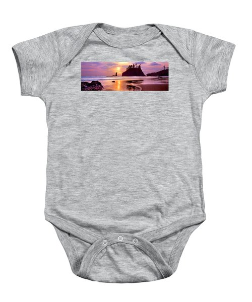 Silhouette Of Sea Stacks At Sunset Baby Onesie by Panoramic Images