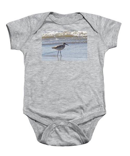 Willet Bird Wading In Ocean Surf Baby Onesie