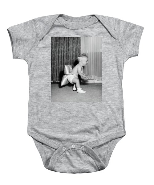 1950s Laughing Baby In Diaper And Shoes Baby Onesie