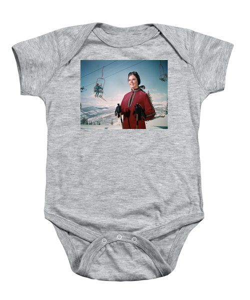 1970s Woman In Winter Gear And Goggles Baby Onesie