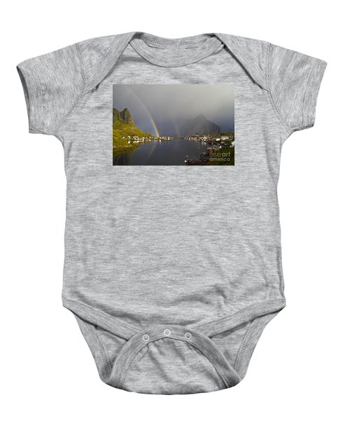 Baby Onesie featuring the photograph After The Rain In Reine by Heiko Koehrer-Wagner