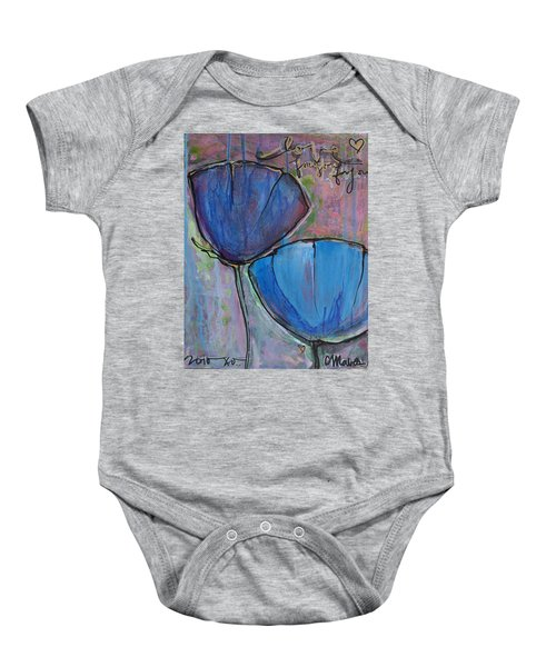 Two Blue Poppies Baby Onesie