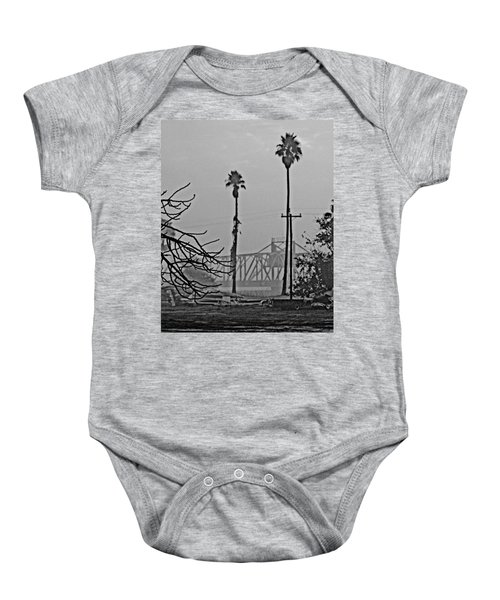 a Delta drawbridge in the morning mist Baby Onesie