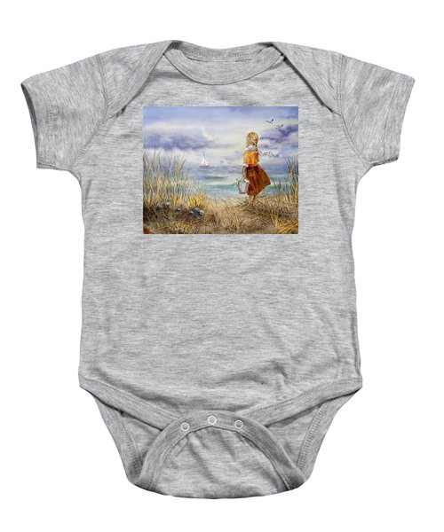 A Girl And The Ocean Baby Onesie