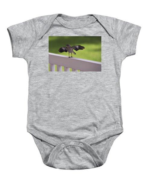 A Little Visitor Northern Mockingbird Baby Onesie