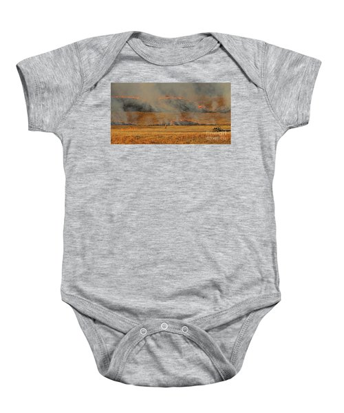 A Lone Firefighter On The Norbeck Prescribed Fire. Baby Onesie